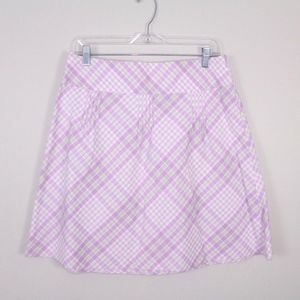 Ann Taylor LOFT Plaid Cotton Pleated Skirt